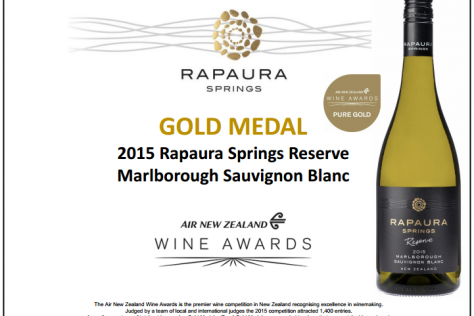Rapaura Springs awarded Pure Gold at the Air New Zealand Wine Awards