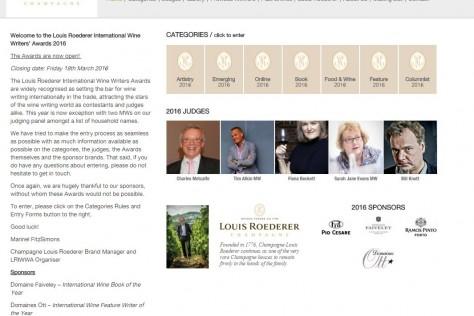 Louis Roederer International Wine Writers' Awards 2016 OPEN