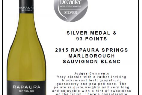 Rapaura Springs Sauvignon Blanc wins Silver at the DWWA