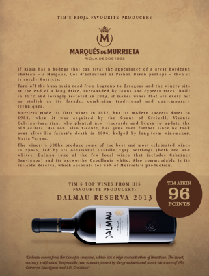 Dalmau is one of Tim Atkin MW's Top Wines from his Favourite Producers!