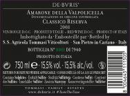 De Buris back label
