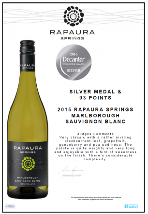 Rapaura Springs Sauvignon Blanc wins Silver at the DWWA
