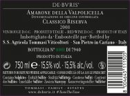 De Buris back label