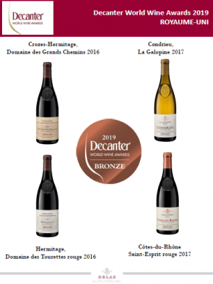 Bronze Awards  for DELAS at The Decanter Wine Awards 2019