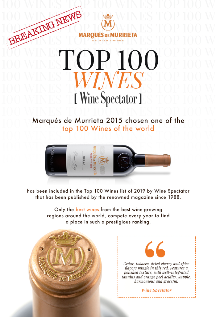 Marqués de Murrieta 2015 chosen one of the top 100 Wines of the world
